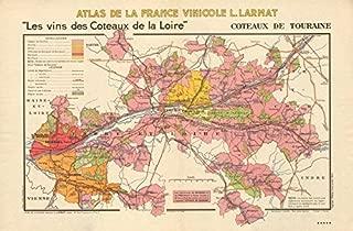 LOIRE WINE MAP Coteaux de Touraine Vouvray Chinon Montlouis AOC. LARMAT - 1946 - old map - antique map - vintage map - printed maps of France