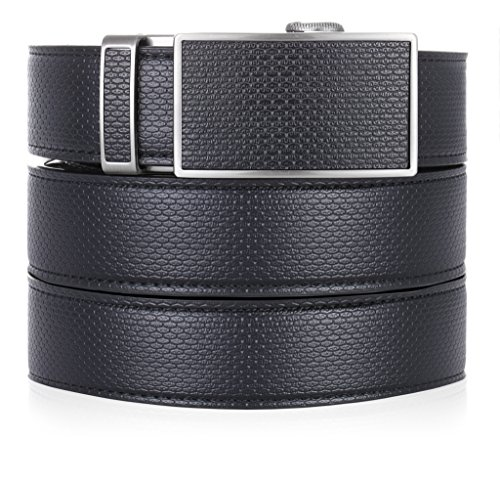 Marino Ratchet Leather Dress Belt For Men – Adjustable Click Belt with Automatic Sliding Buckle, Enclosed in an Elegant Gift Box – black -Adjustable from 28″ to 44″ Waist