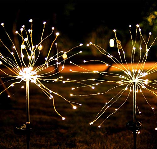 Solar Garden Lights Solar Stake Lights DIY Firework Lights Foldable Branches IP67 Waterproof LED Outdoor Home Decor Artificial Trees for Christmas Birthday Wedding Party (Warm White)