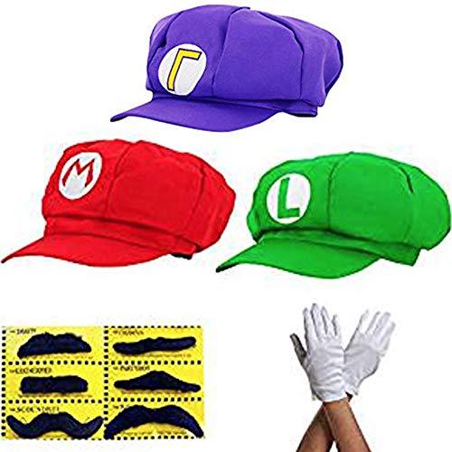 thematys Gorro Super Mario Luigi Waluigi - Set de Disfraces para Adultos y Niños + 3X Guantes y 6X Barba Pegajosa Carnaval y Cosplay