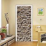 APAJSG Pegatinas Puertas Interiores 3D Vinilo Autoadhesivo Adhesivos para puertas Dormitorio decoración del hogar Cartel 95x215 cm Muro de adobe