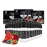 VAPOURSSON 15 X 10ml E Liquid gemischte Früchte, (Ohne Nikotin) Süßer Roter Apfel - Blaubeere - Kirsche - Erdbeere - Wassermelone - Neue Formel Hergestellt für elektronische Zigaretten und E Shisha