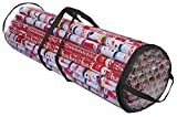 ProPik Christmas Gift Wrapping Paper Storage Organizer Bag, Store Up to 24 Rolls 40 Inch, Heavy Duty PVC Clear Bag with Handles and Zippered Top Wrap and Ribbons (Black)