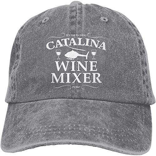 dfhyerdtgtwesr Catalina Wine Mixer Logo Retro Adjustable Cowboy Denim Hat Unisex Hip Hop Black Baseball Caps,Gray,One Size