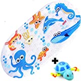 iSagax Baby Bath Mats Non Slip Anti Mould, Cartoon Bath Mat Shower Mat for Kids Toddler Safety Bathroom Bathtub Mat with Suction Cups,Environmental PVC,Square,70 x 38 cm