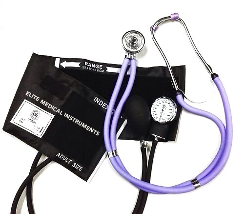 EMI EBE-340 Sprague Rappaport Stethoscope with Black Aneroid Sphygmomanometer Manual Blood Pressure Cuff Set (Lilac/Black)