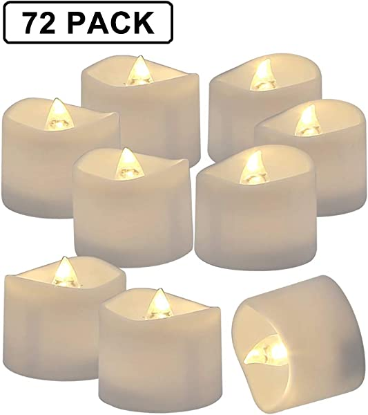 Homemory 72 Pack Flameless Flickering LED Tealight Candles Battery Operated Votive Tealight Electric Tea Lights Warm White