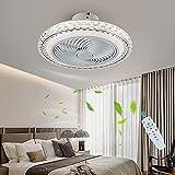 Ventilador De Techo Con Iluminación, Luz De Techo LED Moderna Regulable Con Mando A Distancia Lámpara Del Ventilador Invisible Velocidad Del Viento Ajustable Para La Sala De Estar Del Dormitorio