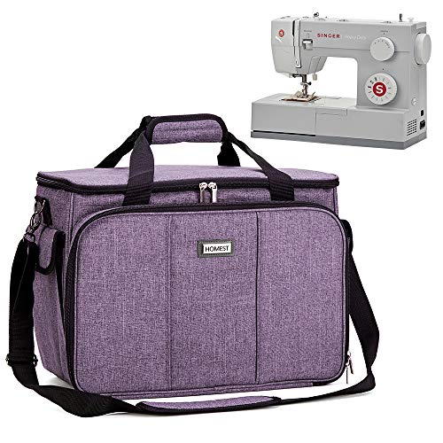 HOMEST Sewing Machine Carrying Case with Multiple Storage Pockets, Universal Tote Bag with Shoulder Strap Compatible with Most Standard Singer, Brother, Janome, Lavender (Patent Design)