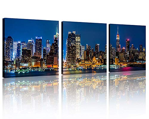 TutuBeer 3 Panels New York Home Decor Beautiful New York City Skyline New York Night Light Prints On Canvas New York Decor for Home Cityscape Picture New York Decor for Home Decor, 3pcs/set