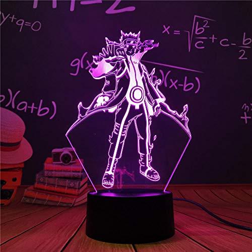 Luz nocturna 3D LED luz nocturna anime Naruto Uzumaki Equipo 7 Sasuke Kakashi Hatake niños luz nocturna Itachi Uchiha lámpara 3D para niños regalo de Navidad ZGLQ