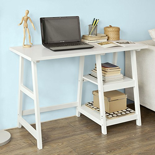 Haotian Wall-Mounted Drop-Leaf Table, Folding Kitchen & Dining Table Desk, Solid Wood Children Table,Home Office Table Desk Workstation Computer Desk with Storage Shelves, Trestle Desk (FWT16-W)