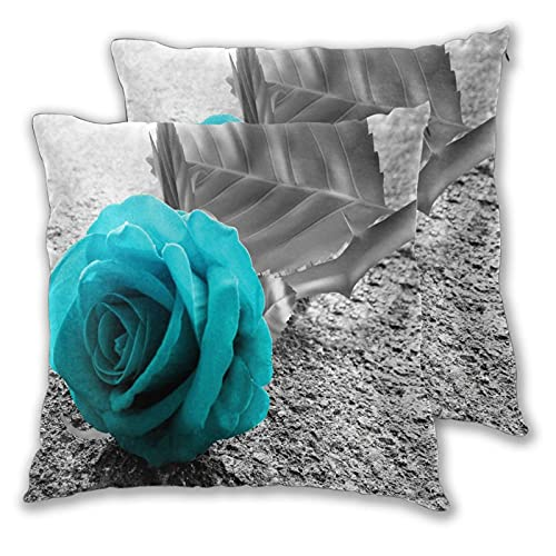 VINISATH Set de 2 Funda de Cojín 50x50cm Flor Teal Azul Rosa Balck Y Estampado Floral Blanco Fundas de Almohada para Cojines Decorativos para Sofá Cama Coche Hogar