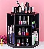 HOYOFO New 360 Degree Rotation Desktop Cosmetic & Bathroom Skincare Large Plastic Storage Box,Black
