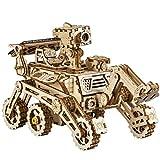 Robotime Solarbetriebene STEM Spielzeug - Laserschneiden DIY Roboter Auto Modellbau Kits - 3D Holz Puzzle Alter 14 3D Puzzles Erwachsene (Curiosity Rover)