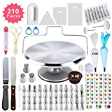 210 Piece Cake Decorating Supplies Kit | Aluminium Rotating Turntable Stand, Frosting & Piping Tips, Icing Spatula, Scraper, Smoother, Flower Nails, Cutter, Disposable Pastry Bags, Pro Baking Tools
