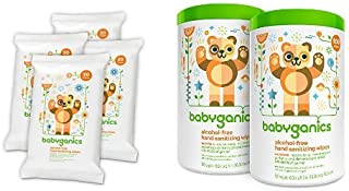Babyganics Alcohol-Free Hand Sanitizing Wipes, Mandarin, On-The-Go, 20 count reseal pack (Pack of 4) and Babyganics Alcohol Free Hand Sanitizer Wipes, Mandarin, 100 Count Canister (Pack of 2)