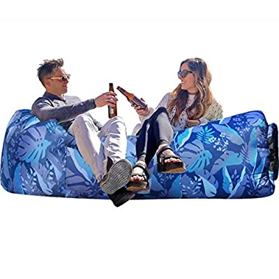 Wekapo Inflatable Lounger Air Sofa Hammock-Portable,Water Proof& Anti-Air Leaking Design-Ideal Couch for Backyard Lakeside Beach Traveling Camping Picnics & Music Festivals (B Palma)…
