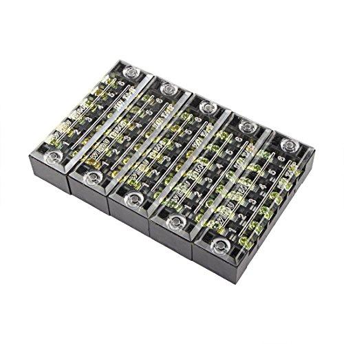 uxcell バ リア端子台 6ポジション 2列 600V 15A ワイヤーバ リアブロック端子台 TB-1506 5個