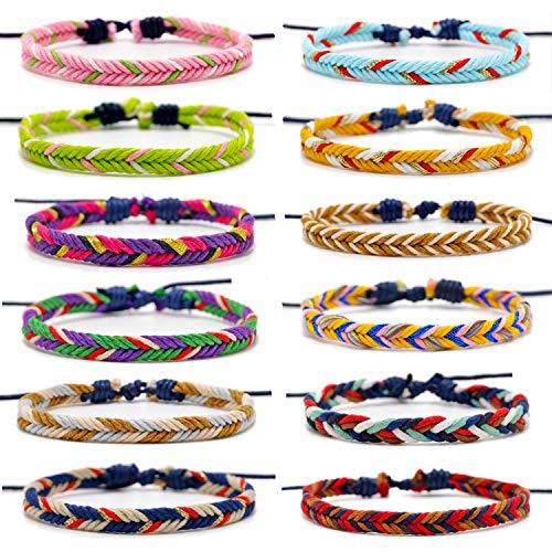 Carykon 12 PCS Friendship Bracelet Hand-Woven Cotton and Linen Bracelet Adjustable Size 6-11 Inches Unisex(Wisdom)