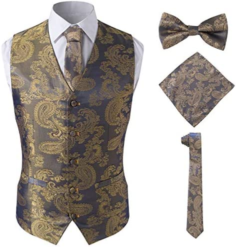 Men s 4pc Classic Paisley Suit Vest Set Bow Tie and Hanky for Tuxedo Gold L product image