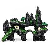 Merssavo Adorno de Piedra con Vista a la montaña para Acuario, simulación de Piedra de Musgo, Puente de árbol de Cueva, decoración de pecera Artificial