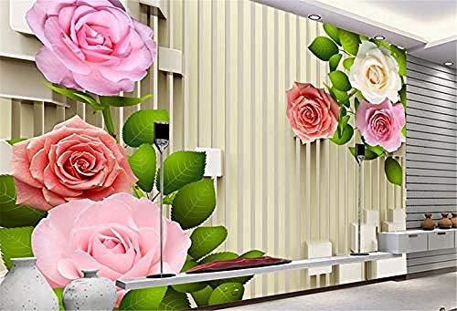 Fototapete,Wandbild,Mural Wall Sticker Vintage Wallpaper customize 3D Wall Papers Home Decor Living Room Rose Green Leaves Bamboo Do Desktop 3D Wall Panel 400Cm*280Cm-150cm*105cm