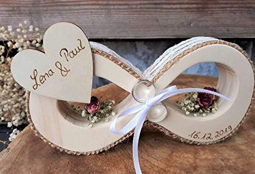 Hochzeit Ringkissen Ringhalter Holz Unendlichkeitszeichen für Eheringe mit Namen