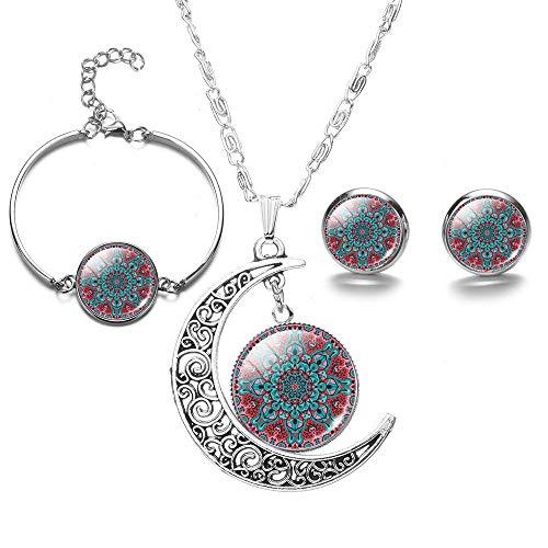 Halskette Blumen Schmuck Sets Crystal Moon Halskette Ohrringe Armreifen Set Für Lady Girl Style6
