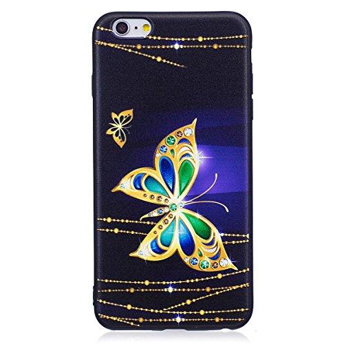 ISAKEN Compatibile con iPhone 6S Plus /6 Plus Custodia (No Strap) - Ultra Sottile Morbido TPU Cover Protezione Posteriore Case Antiurto Nero Bumper Soft Sollievo TPU Backcover, Glitter Farfalle