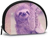 """女性のための怠惰なナマケモノの宇宙の小銭入れ、ミニ収納袋、シェル型の財布、小さなジッパーの小銭入れ-4.7""""×3.5""""-黒"""