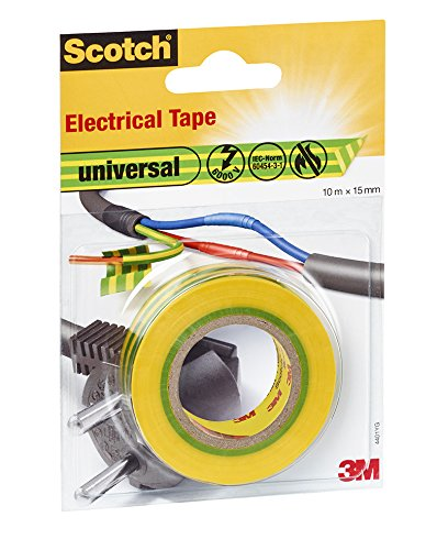 Scotch 4401YG Isolierband universal, 15 mm x 10 m, 1 Stück, gelb/grün