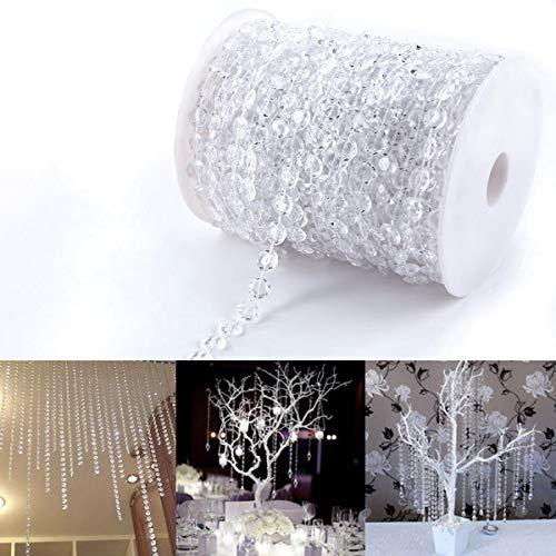 30 m Acryl-Kunststoff-Perlenschnur für Vorhänge Tür Weihnachten Hochzeit DIY Basteln Party Home Dekoration, transparent