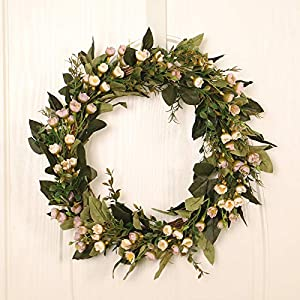 Silk Flower Arrangements Alapaste Artificial Snowball Flower Wreath,15.8in Beautiful Handcrafted Greenery Wreath Spring Wreath for Front Door Festival Celebration Wall Party Decoration