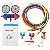 Tree-on-Life Kit de medidor de Aire Acondicionado Kit de refrigeración de CA Kit de Servicio automático Herramienta de reparación de Aire Acondicionado para automóvil Rojo