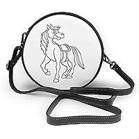 TURFED Bolsa de hombro redonda de dibujo de caballo con dibujo de dibujos animados Bolso de hombro de mujer Correa de cadena de cuero de PU ajustable y cremallera superior Bolso pequeño Asa de mano