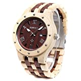Bewell W109A Natural Wood Watches for Men Quartz Date Lumious Pointers (Maple and Red Sandalwood)