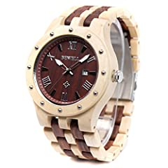 Material features: 100% natural original MAPLE and Sandalwood, eco-friendly and hypoallergenic High Reliability Japanese Quartz Movement: Low maintenance, long life battery for 36 months and replace easily Wooden watch band is hypo-allergenic and aju...