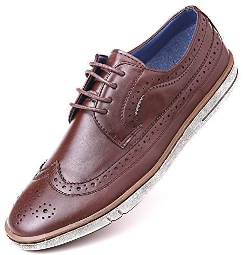Mio Marino Mens Casual Dress Shoes - Wingtip Brogue Business Fashion Oxford Shoes for Men - Warm Chestnut - 8.5 D(M) US