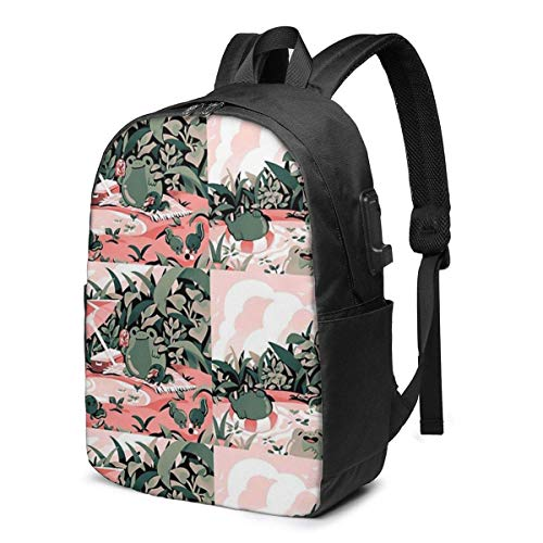 Froggie Frolic Fun USB School Backpack Large Capacity Canvas Satchel Casual Travel Daypack for Adult Teen Women Men 17in