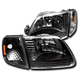 ZMAUTOPARTS Replacement Headlights with Corner Signal Lamps Black/Amber For 1997-2003 Ford...
