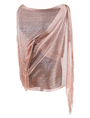 MissShorthair Women's Sparkle Shawls and Wraps for Party Dresses (Rose Gold)
