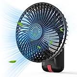 AUZKIN 扇風機 6000mAh 強力 超クール 携帯扇風機 卓上扇風機 手持ち扇風機 USB充電式 小型 静音 LED照明機能付き 32h長時間連続使用 風速3段階調節 180度角度調整 バッテリー内蔵 オフィス キャンプ ブラック