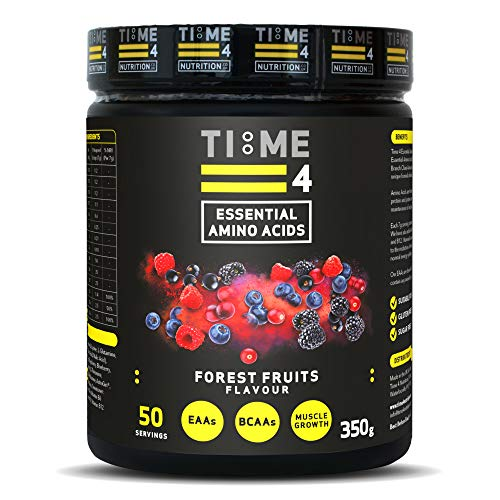 Time 4 Essential Amino Acids 350g 50 Servings - Plant Based EAA Formula + Branch Chain Amino Acids, Glutamine, AstraGin, Vitamin D, Vitamin B6 & Vitamin B12 (Forest Fruits)