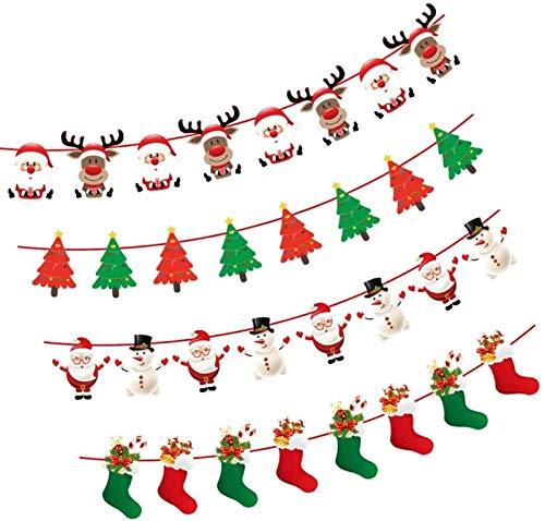 RENFEIYUAN 4 stücke S Banner Flaggen Hängende Bunting Girlande Papier S Baum Strumpf Elch Santa Hängende Banner Bunting Fahnen for Kamin Tür Wand Fenster Urlaub Dekoration Weihnachten fenstersticker