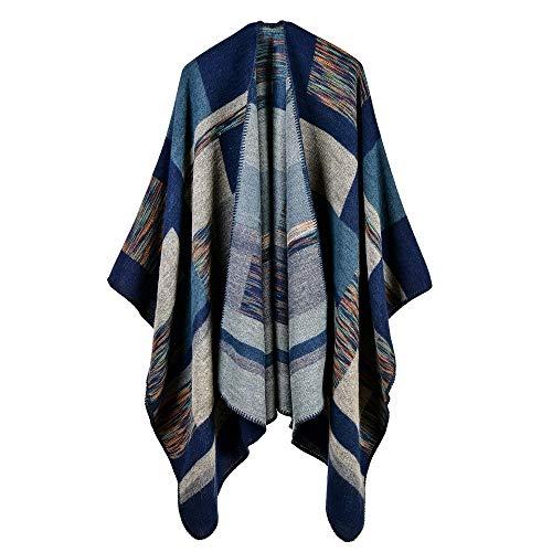 KINMB Echarpes Foulards scarfCarrés Jacquard , châles Chauds , écharpes d' Automne et d'hiver , épaississement Long , Bandes de Couleur, Bleu foncé