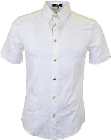 Versace Botón de Manga Corta Para de Plumón de Camisa Blanca ...