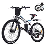 VIVI Folding Electric Bike, Electric Mountain Bike 350W Ebike 26'' Electric Bike for Adults with Removable 8Ah Battery, Professional 21 Speed Gears, Full Suspension
