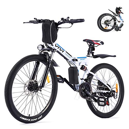 VIVI Folding Electric Bike, Electric Mountain Bike 350W Electric Bicycle 26'' Electric Bikes for Adults, 36V 8Ah Removable Battery, Shimano 21 Speed E-Bikes for Adults, Full Suspension Mountain Bike