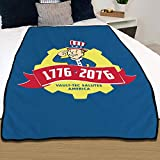 """Fallout Blanket 1776 2076 Vault-Tec Salutes America [Blue, Yellow, RED 45"""" x 60""""] Travel Throw, Plush Blanket, Video Game Bedding for Kids and Adults"""